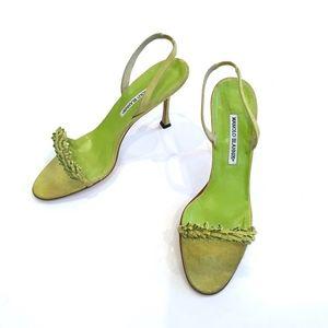 Manolo Blahnik Green Ankle Strap Suede Heels